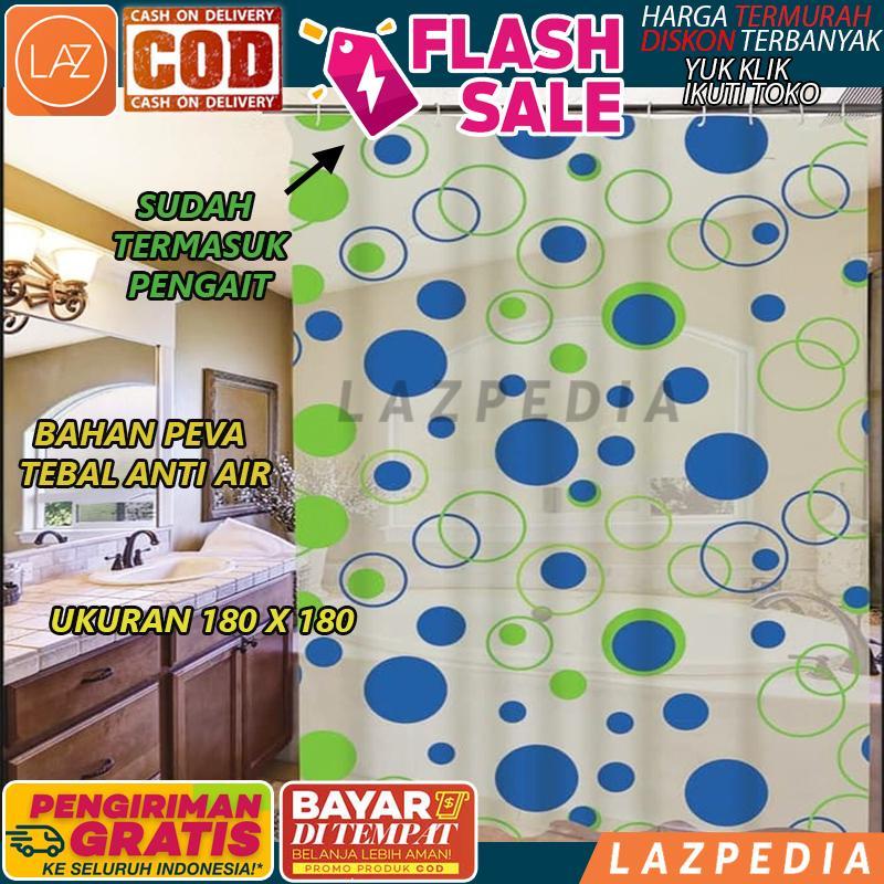 A75 - Cod - [motif Bulat] Tirai Kamar Mandi Anti Air Peva Sudah Dilengkapi Pengait / Penutup Kamar Mandi / Tirai Serbaguna - Lazpedia By Lazpedia.