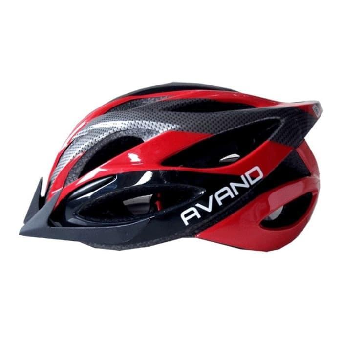 Helm Sepeda Avand Ada Lampu Belakang warna Merah Hitam Tipe A 06