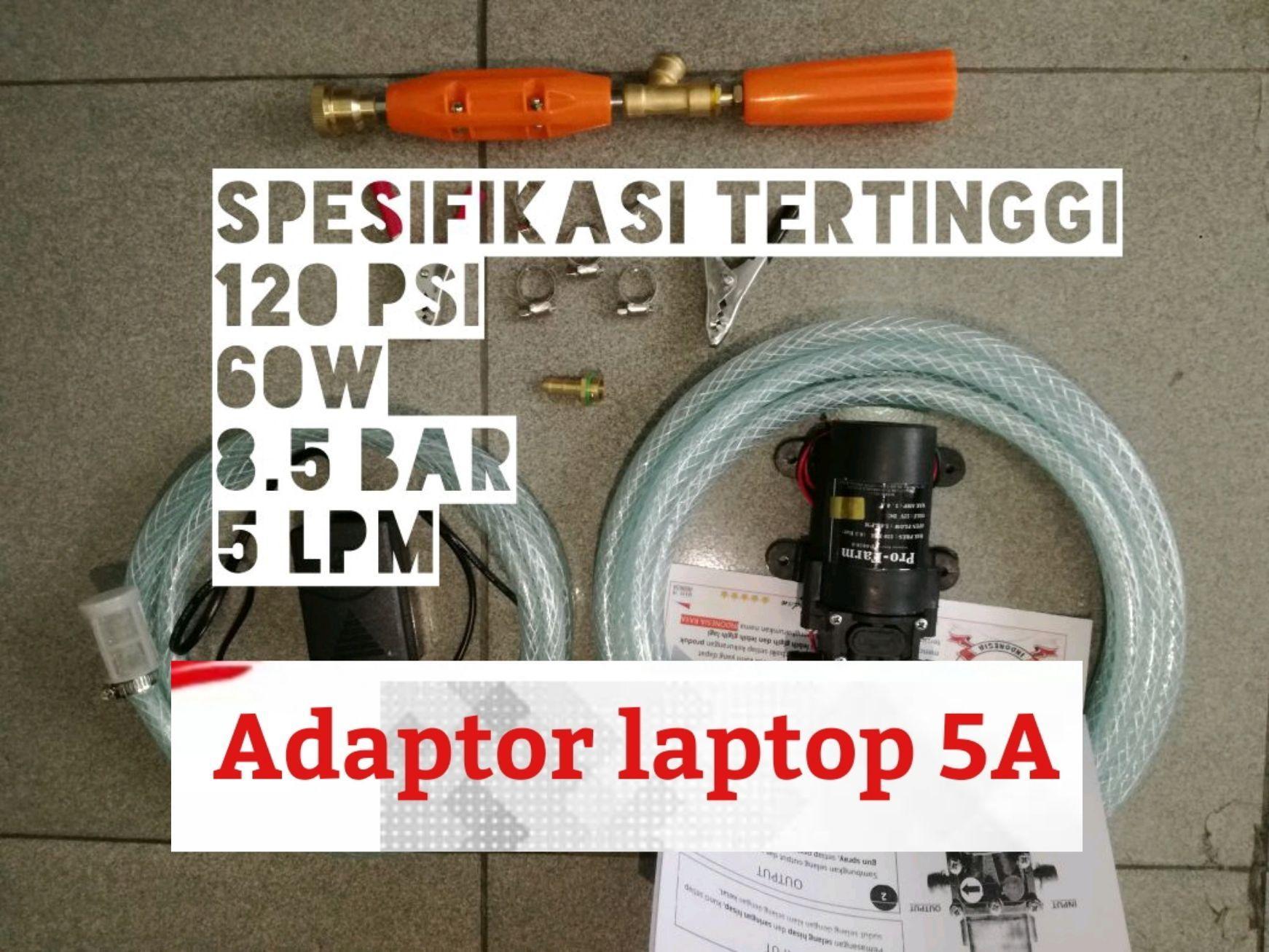 Adaptor Laptop 5A & Mesin Terbaru 120 psi 8.5 bar 60W Power MAX Alat Cuci Motor Kualitas Dijamin Memuaskan Steam Jet Cleaner PUMP AC/DC