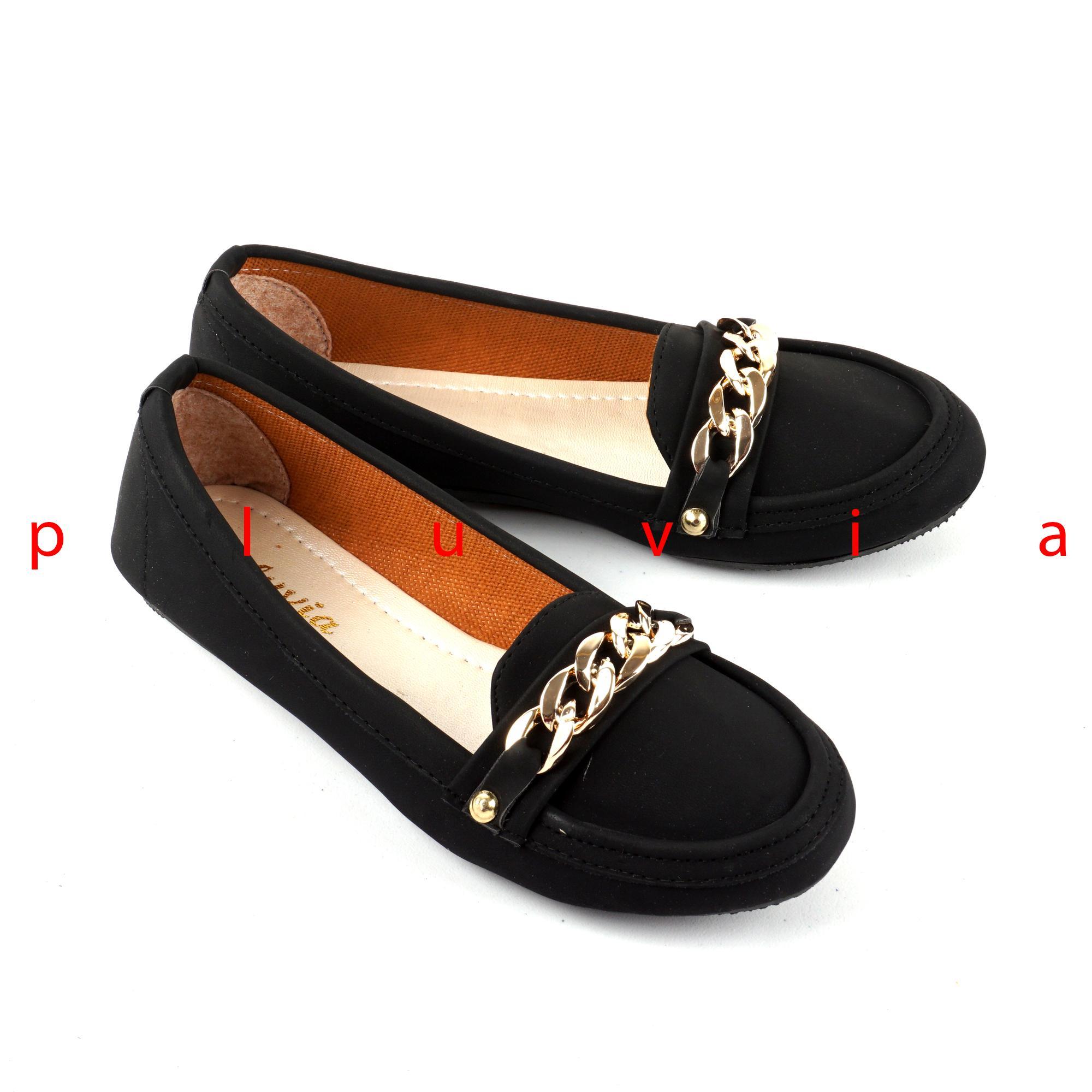 Pluvia - Sepatu Balet Flat Shoes Slip On Wanita PLV12 - Hitam 22cb2d87be