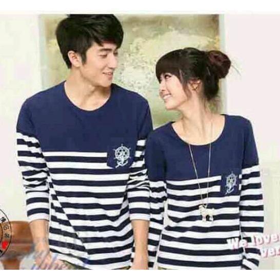 TJ.COLL - Kaos LENGAN PANJANG COUPLE SAILOR NAVY ( PRIA L-WANITA M) KAOS MURAH HARGA GROSIRAN Busana Pasangan  Kaos Couple  Kaos Oblong  T-Shirt