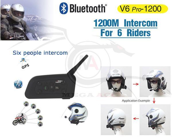 BT Motorcycle Helmet Interphone 1200M Intercom Headset V6 12 / Aneka Helm Terbaru Murah Terlengkap