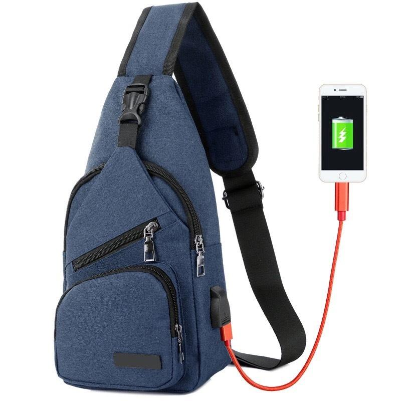 Tas selempang slempang pria USB chestbag slingbag bahu Import SM08