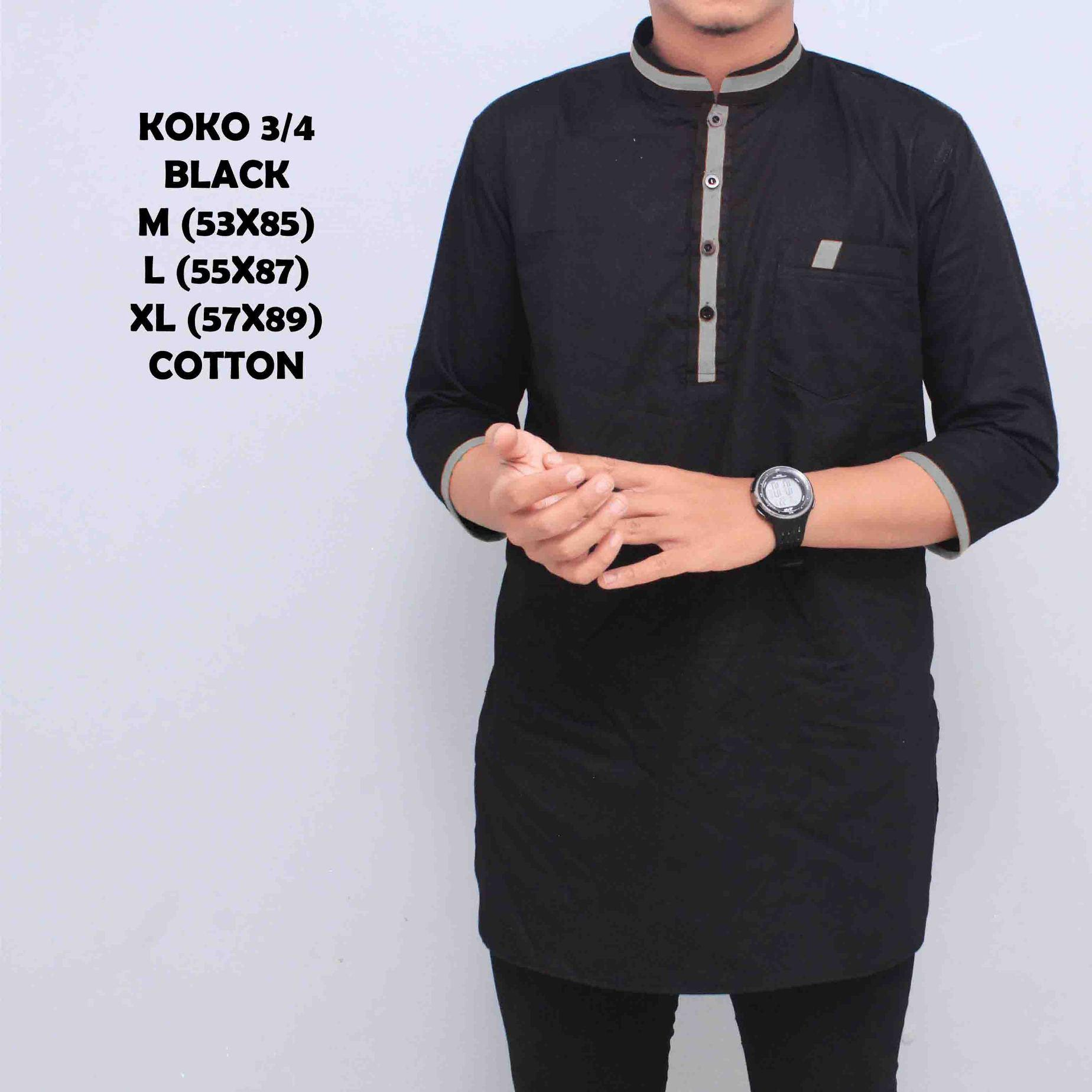 Kemeja Koko Pakistan Baju Gamis Muslim Baju Qurta Pria Lengan 3/4 Hitam List