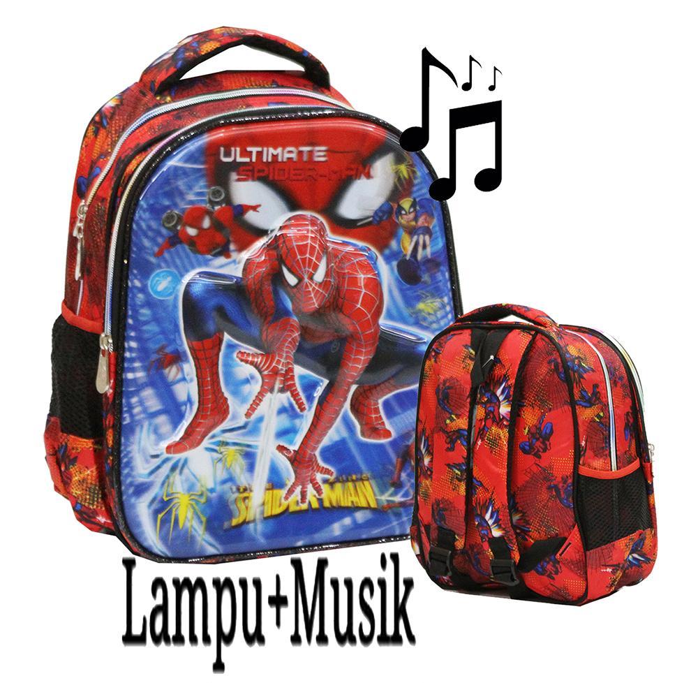 Onlan Marvel Spiderman Super Hero LAMPU+MUSIC 5D Timbul Hologram Tas Ransel Ukuran Anak Sekolah