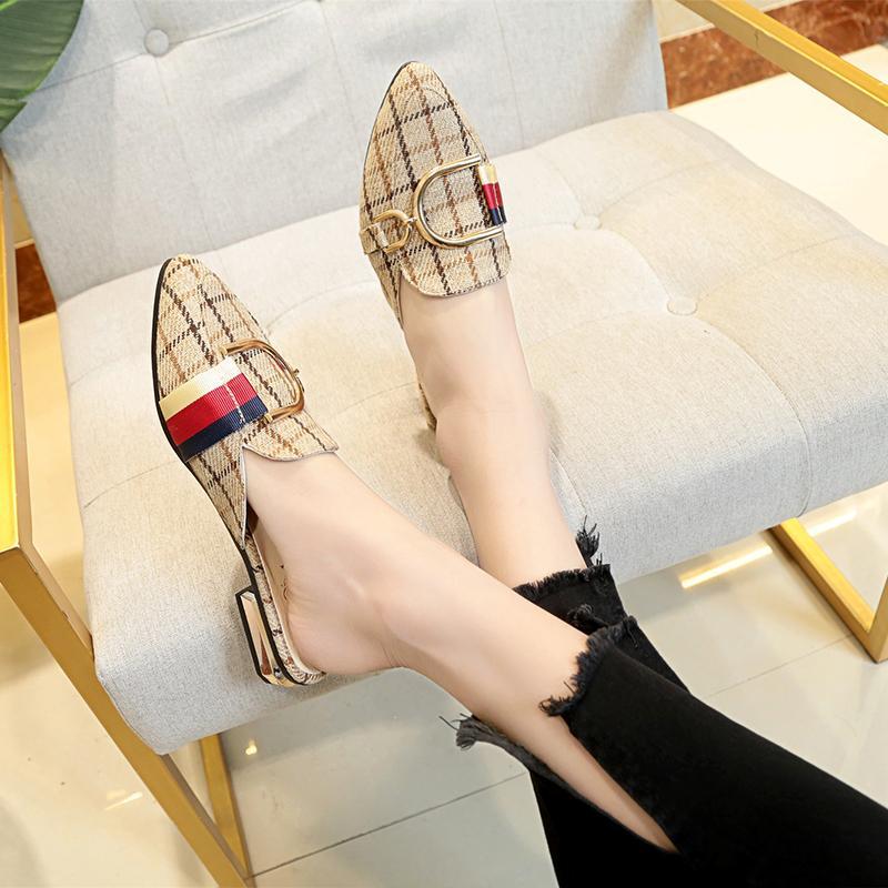 Muller Sandal Eropa dan Amerika Kotak-kotak Sepatu Sandal Wanita Pakaian Luar