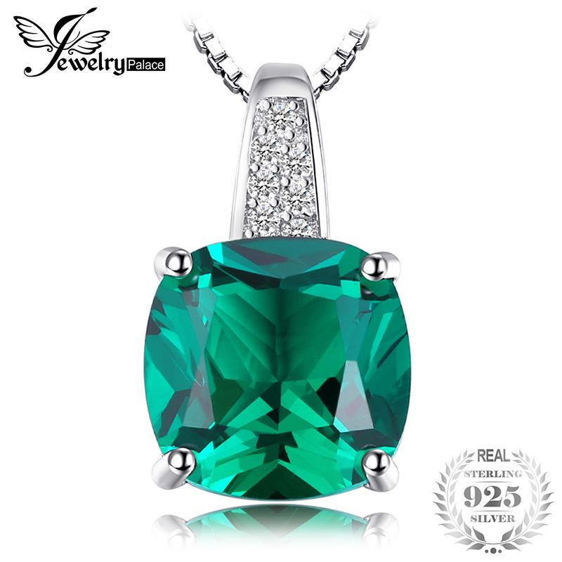 JewelryPalace Cushion 3.4ct Simulated Green Russian Nano Emerald Solitaire Pendant 925 Sterling Silver Not Include A Chain
