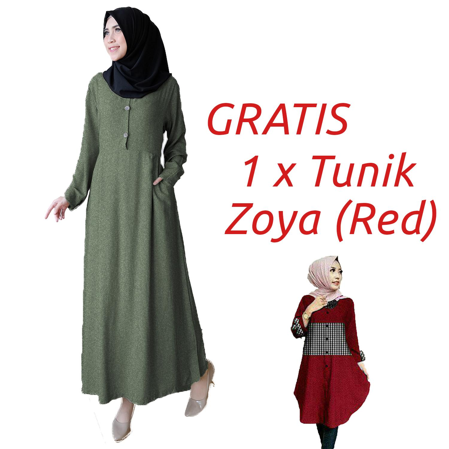 Ayako Fashion / Pakaian Wanita / Dress Muslim Hilda Free Zoya