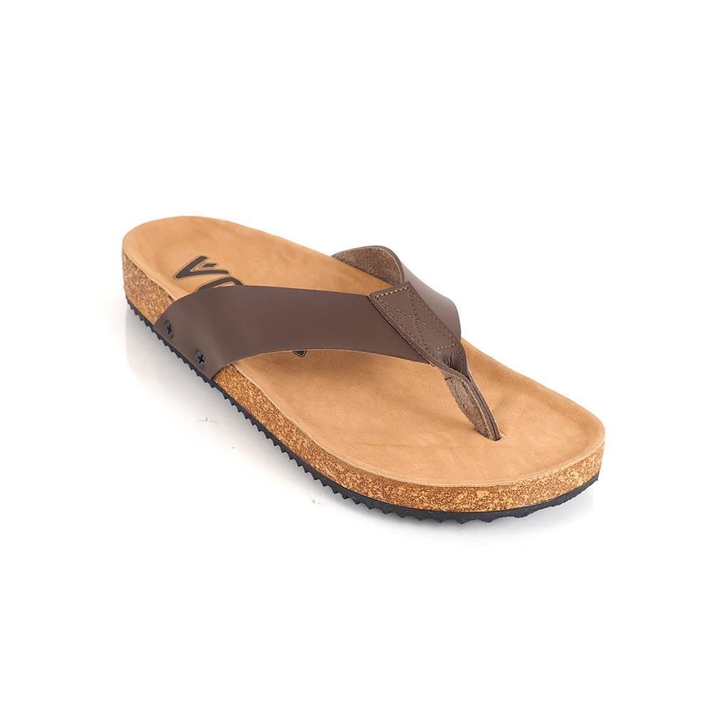 Goodness Footwear - Sandal Jepit Pria Kulit Asli Anti Selip Versi Korea (Khaki) (Khaki) Europe Station Inggris Kulit Musim Panas Pria Sandal Kulit Dan Sandal Sandal Jepit (Hitam 589)