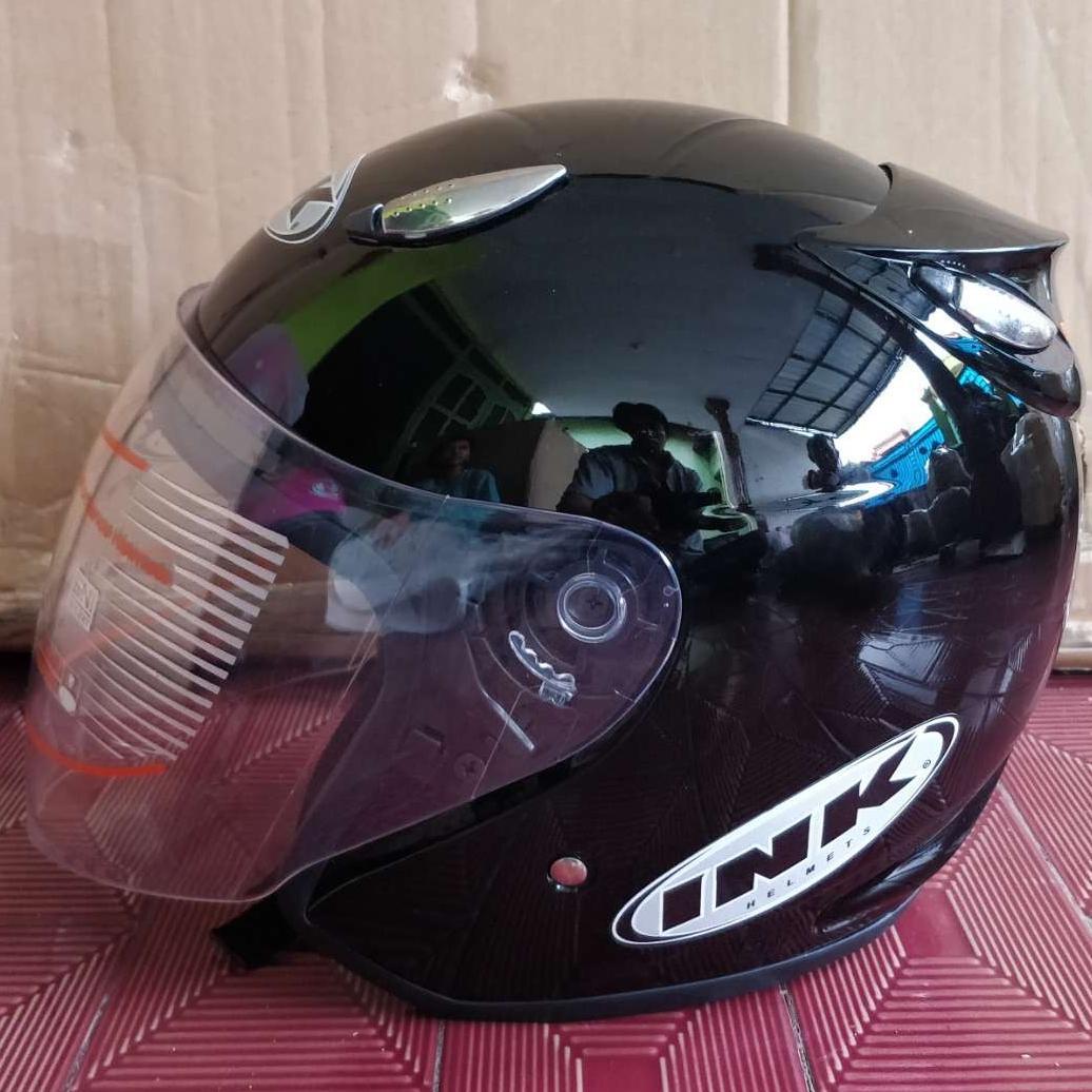 Helm ink centro replika hitam metalik
