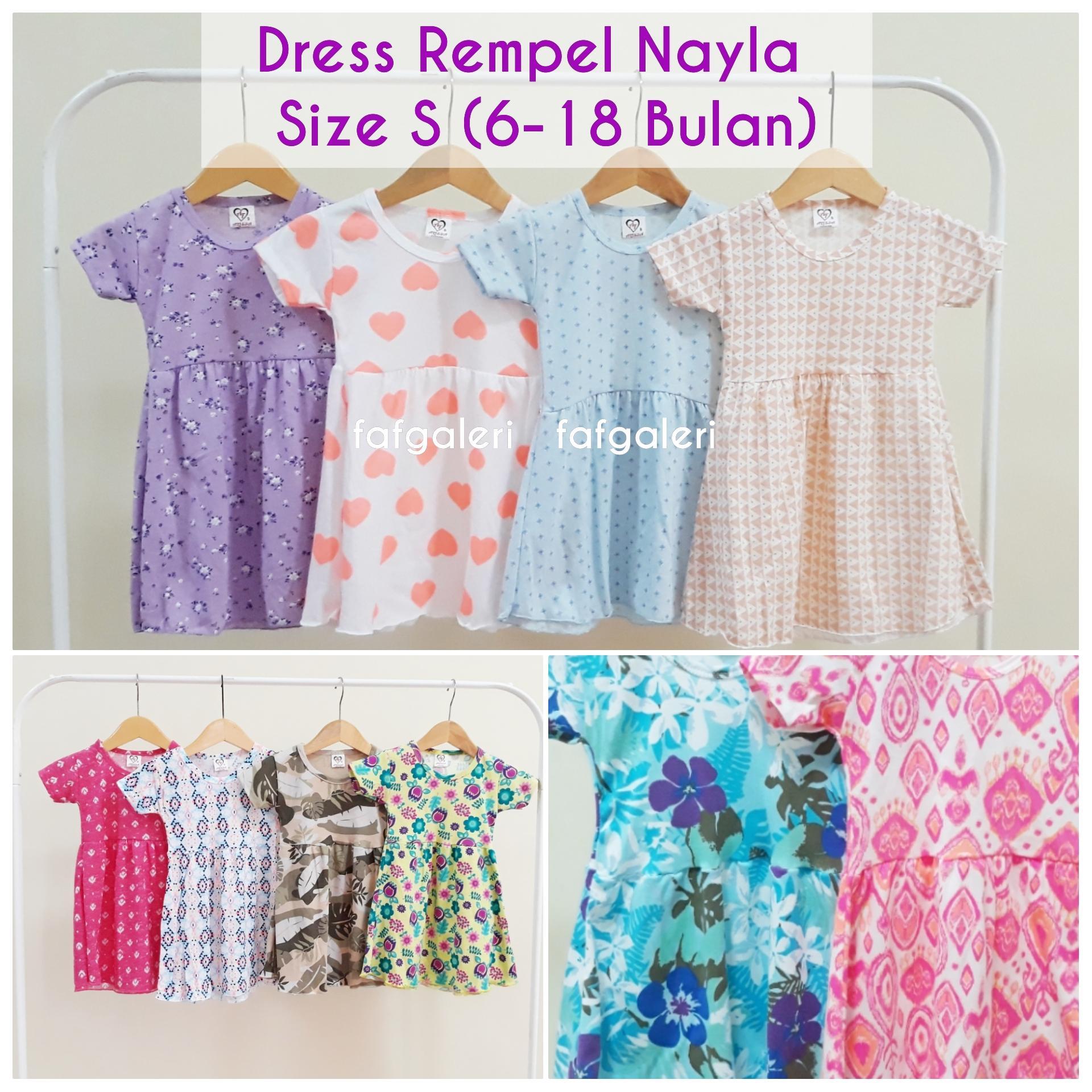 Dress Rempel Nayla 6-18 Bulan Lengan Pendek - Pakaian Baju Anak Bayi  Perempuan Bahan 2dc69bfe2d