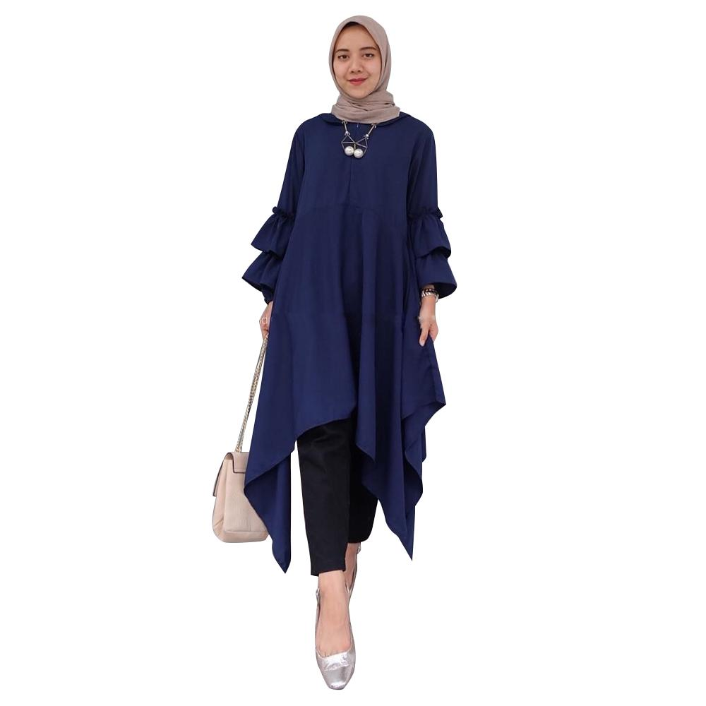 Buy Sell Cheapest Tunik Blouse Blus Best Quality Product Deals Baju Atasan Wanita Ellena Peplum Muslim Kemeja Lovita Long Top