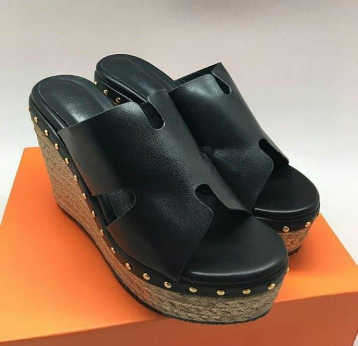 HERMES WEDGES BLACK.MIRROR QUALITY