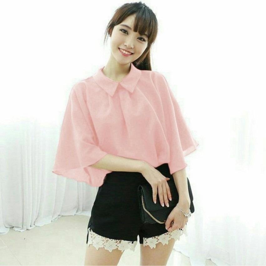 Shoppaholic Shop Blouse Wanita Gili - Peach / Baju Wanita / Blouse Korea / Atasan Wanita / Baju Formal / Kemeja Wanita / Kemeja Formal / Atasan Muslim / Kemeja Cewek Tunik