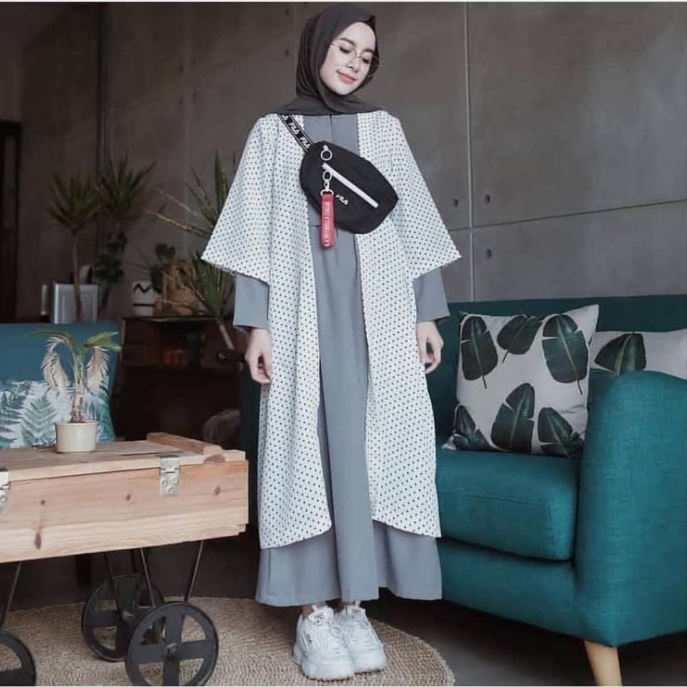Baju Original SF Kinara Polka Maxi Dress Muslim Modern Panjang Hijab Fashion Wanita Gamis Termurah 2018