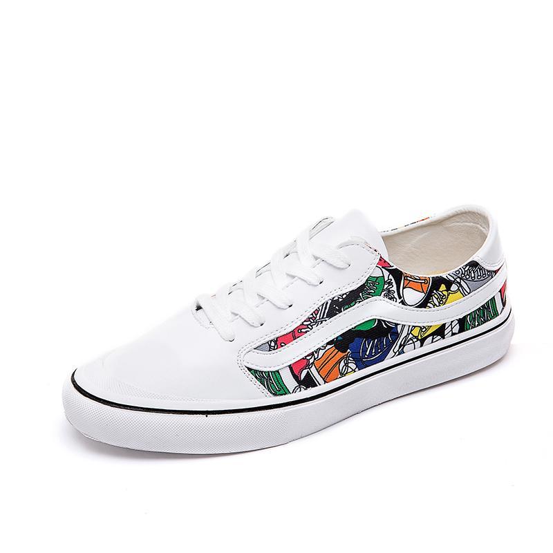 Memaksa Keren Sepatu Pria Vans Sepatu Trendi Hip HOP Hip Hop (Model Pria + 003 Putih Kain Bunga)