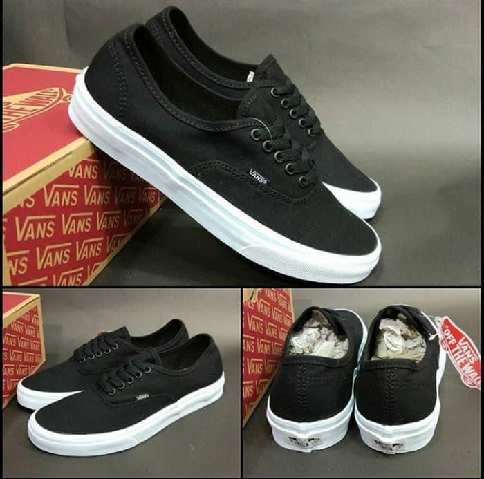 Terlaris Sepatu Vans Authentic Original Premium Mono Black White - FgSs38