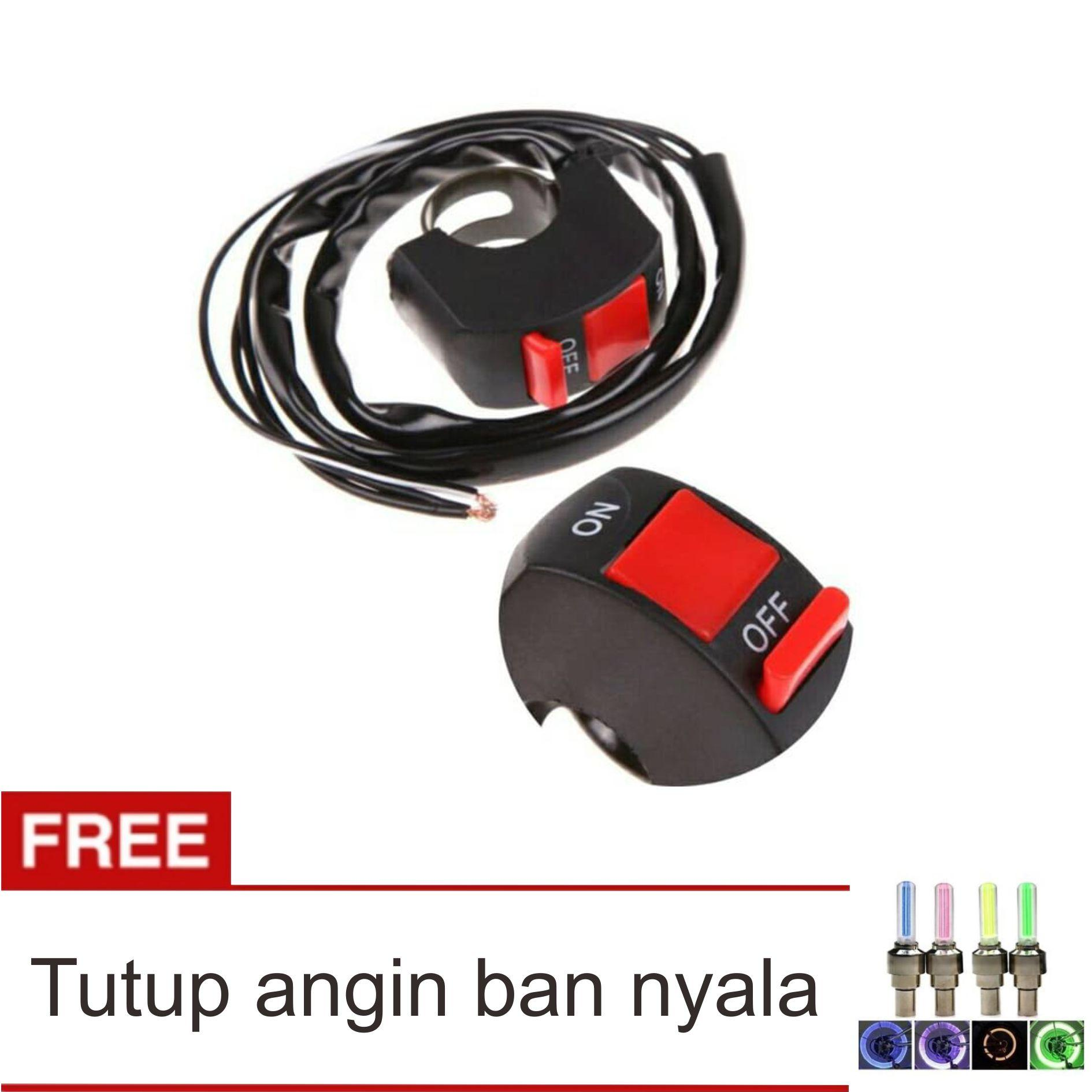 Lanjarjaya Saklar On Off Lampu Motor Model Stang + Tutup Angin Ban Nyala Set