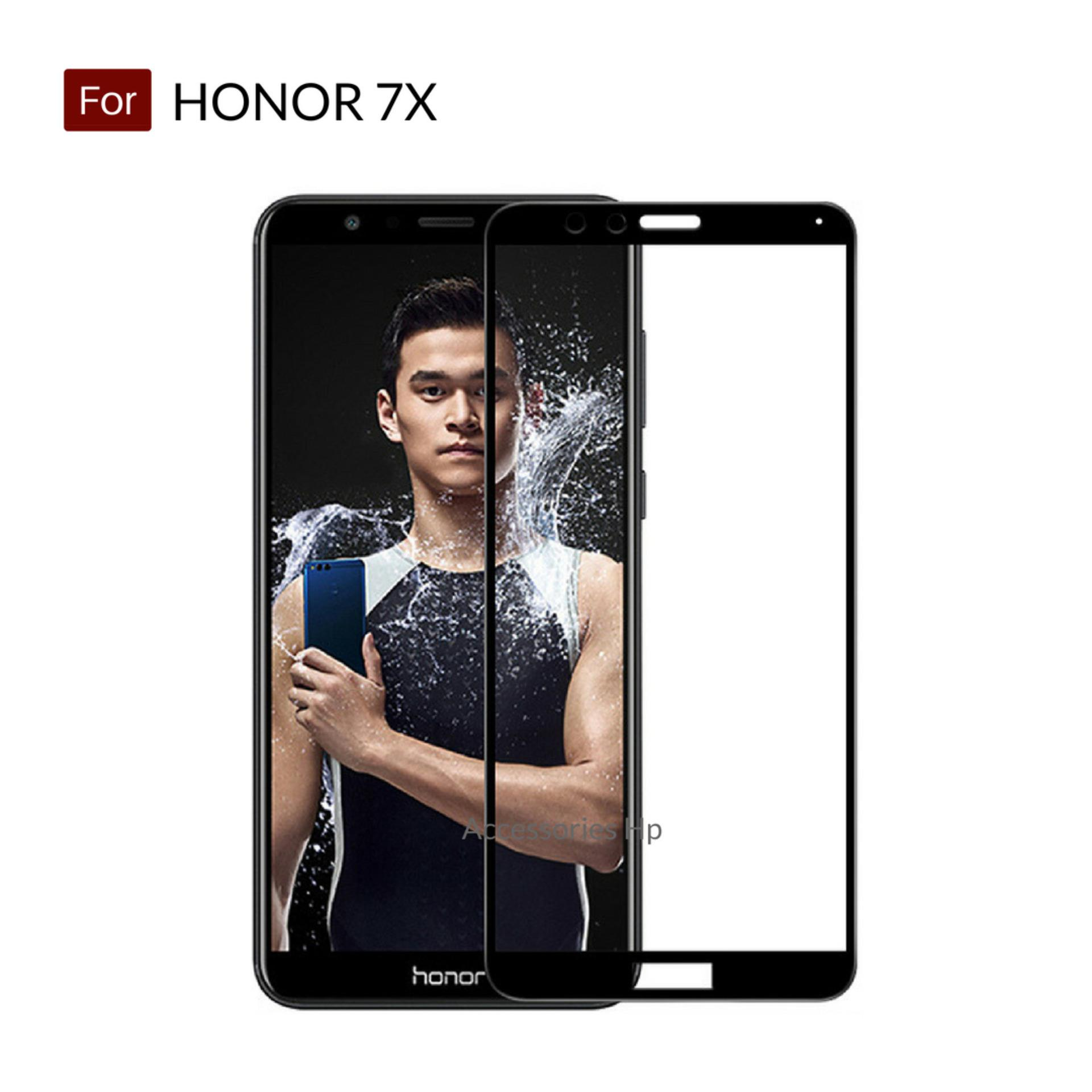 Accessories Hp Full Cover Tempered Glass Warna Screen Protector for Huawei Honor 7X - Black
