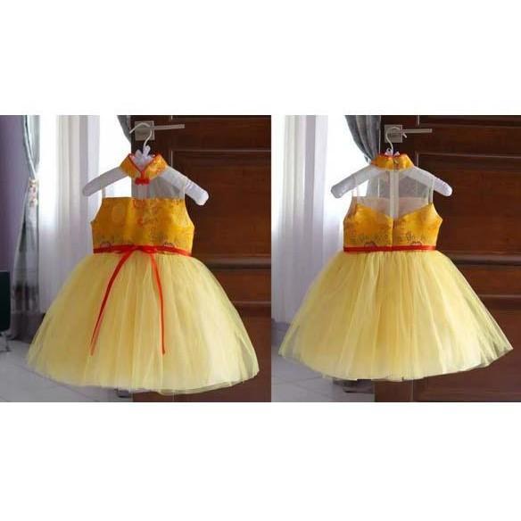 PROMO SALE - DRESS ANAK IMLEK GOLDEN FLOWER USIA 8 BULAN SAMPAI 4 THN (AG
