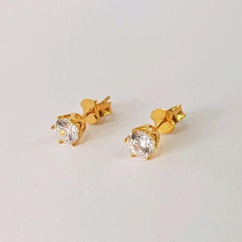 Best Seller Giwang Emas Asli Kadar 875 Round Stud 1g Anting Tusuk Perhiasan Emas Wanita
