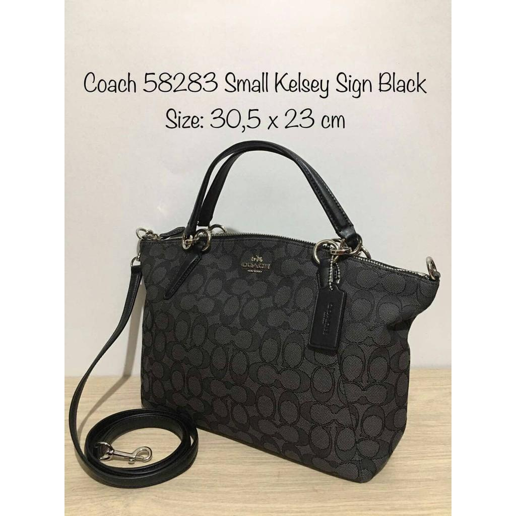 Jual Tas Coach Kelsey Small Black Signature Kanvas Original