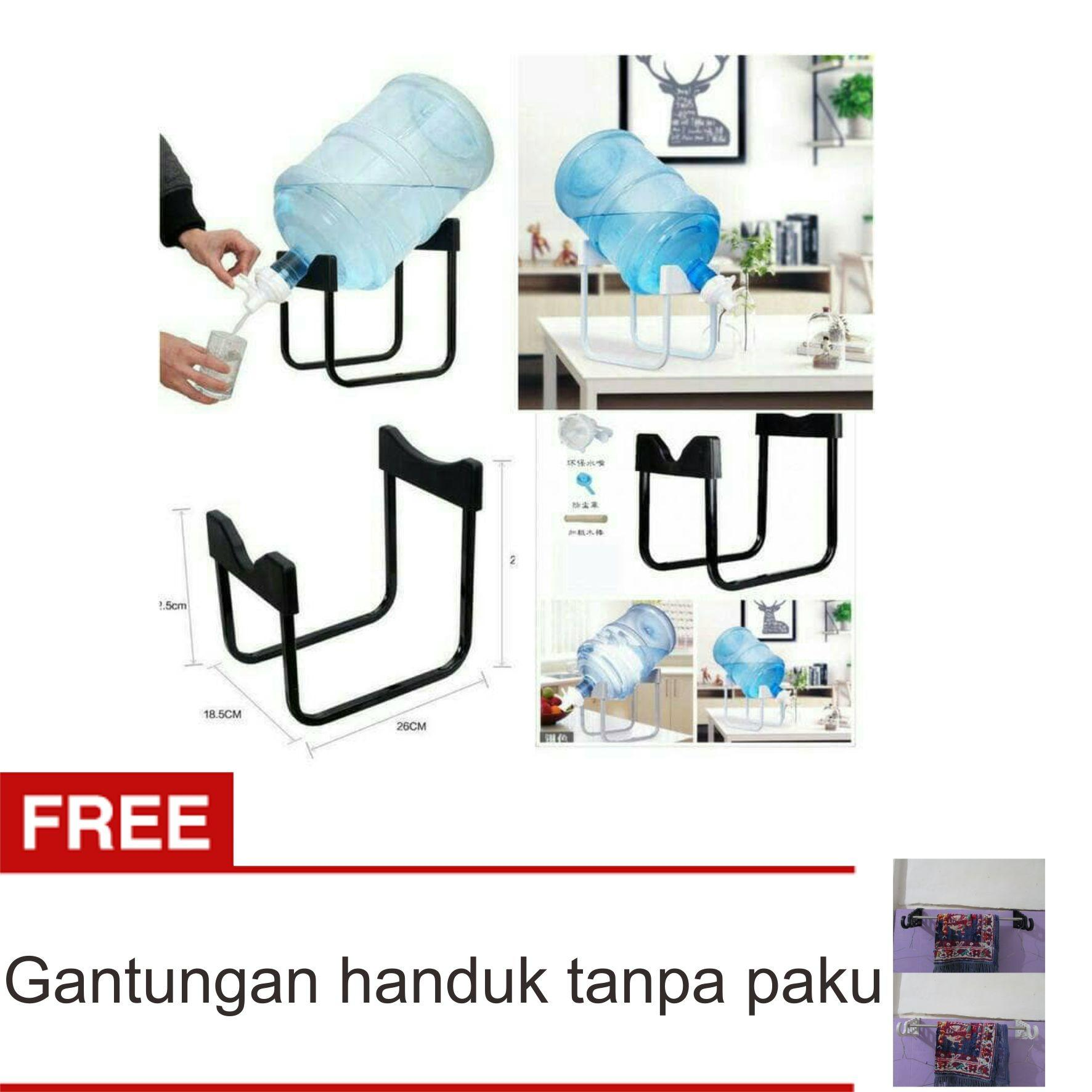 Lanjarjaya Rak Galon Tatakan Galon + Kran Air Galon / Dispenser Air Galon / Dispenser Minuman / Tatakan Aqua / Rak Besi Warna Random + Gantungan Handuk Tanpa Paku