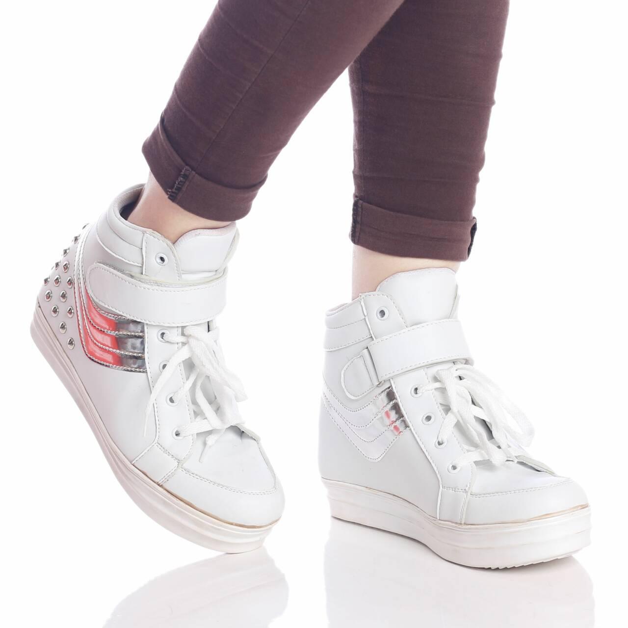 Promo sepatu murah wanita cewek sneaker hidden wedges 5cm awkarin Fashion