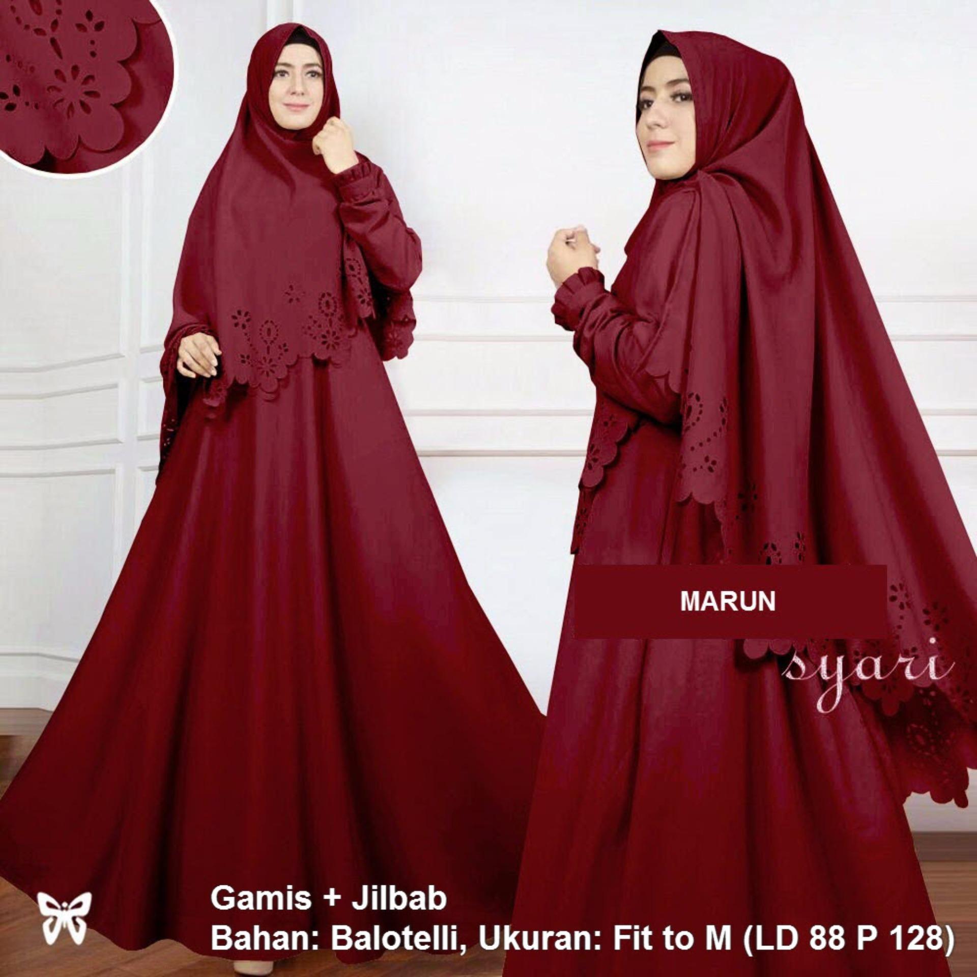 Jual Gamis Terbaru Terlengkap Monalisa Merah Biru Katun Jepang Original Syari Set 2 In 1 Laser Msr065 Baju Muslim Wanita