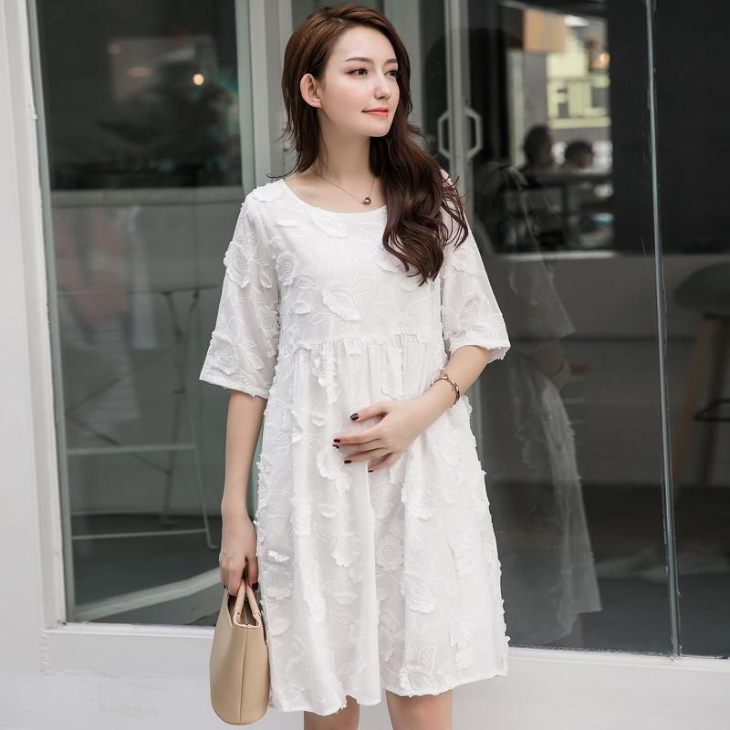 Ibu hamil gaun 2019 model baru Gaya Korea pakaian musim panas ibu fashion model  setengah panjang ba1c4e510d
