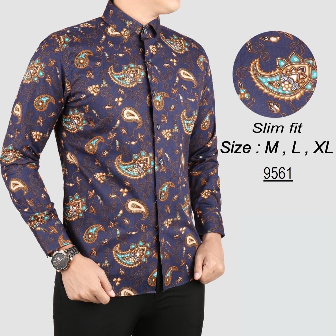 Baju Batik Modern Kemeja Pria Slim fit 9561