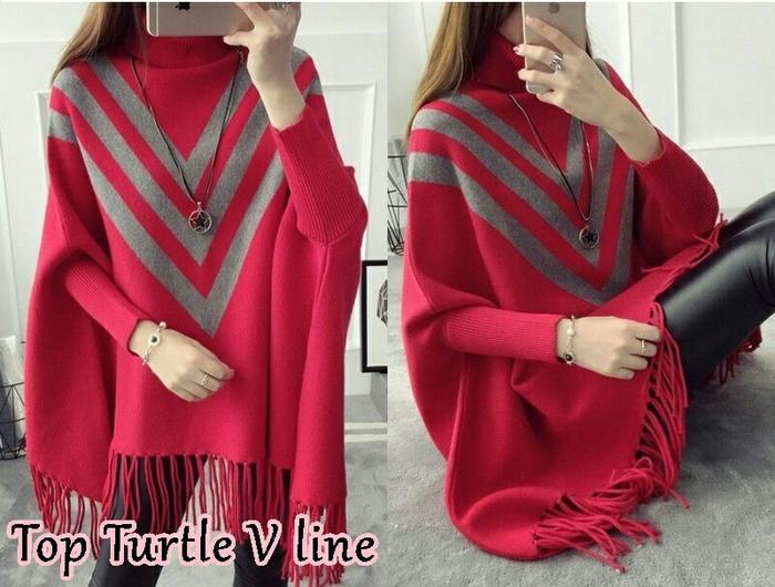 Baju Atasan Batwing Top Turtle V Line - Hitam / Atasan Wanita / Blouse / Blouse