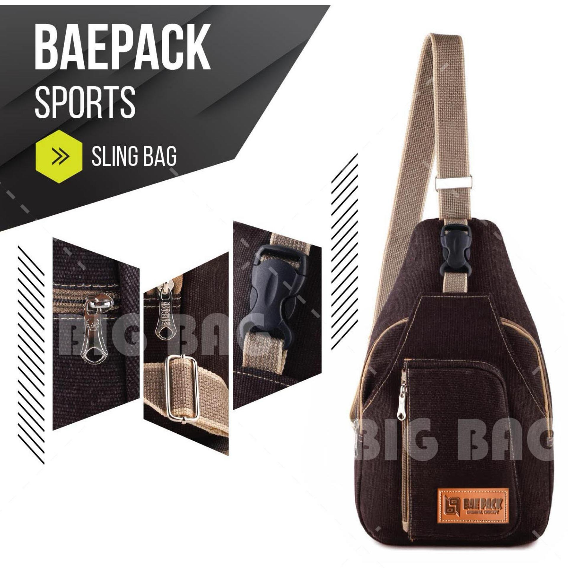 Tas Selempang Pria / Wanita Canvas Kanvas Baepack SPORTS - Slingbag - Coffee - Tas Messenger Shoulder Bag Chest Bag Slempang Import Korean Style Converse ...
