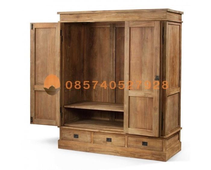 Lemari Pakaian Lifestyle 3 Pintu Jati Natural Wood