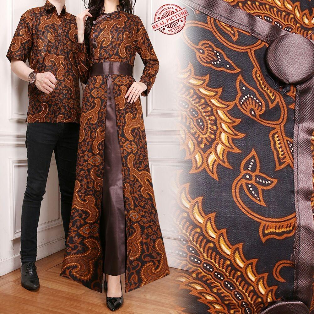 Glow fashion Couple dress maxi panjang wanita jumbo long dress dan atasan kemeja pria shirt Aqilla