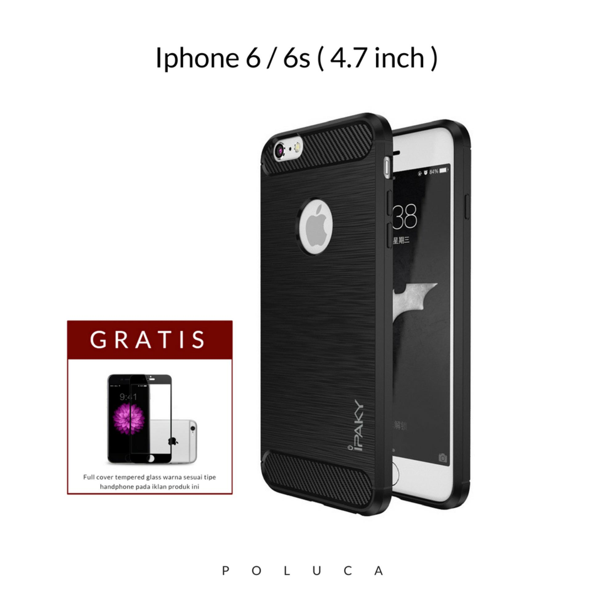 Poluca Luxury Case For Iphone 6 / 6s ( 4.7 inch ) Carbon Brushed TPU Shoockproof