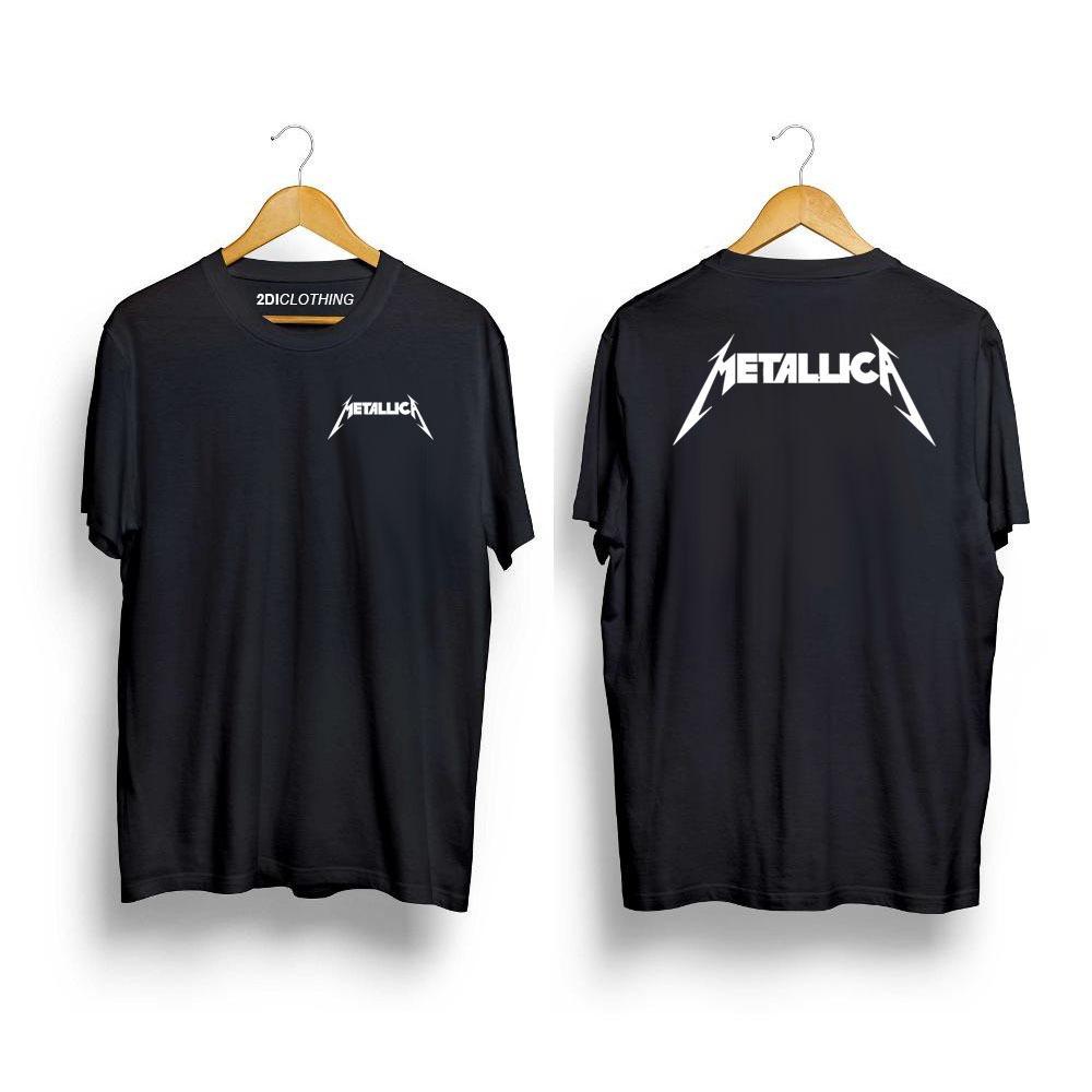 Kaos Distro Band Metallica - Tshirt Metallica Premium - white -maroon - navy - white - Black