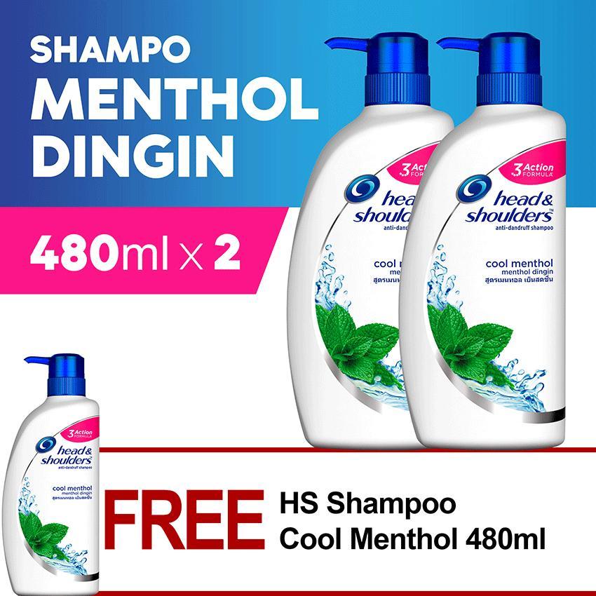 Shampoo Head&Shoulders 480ml Cool Menthol - PACK OF 3
