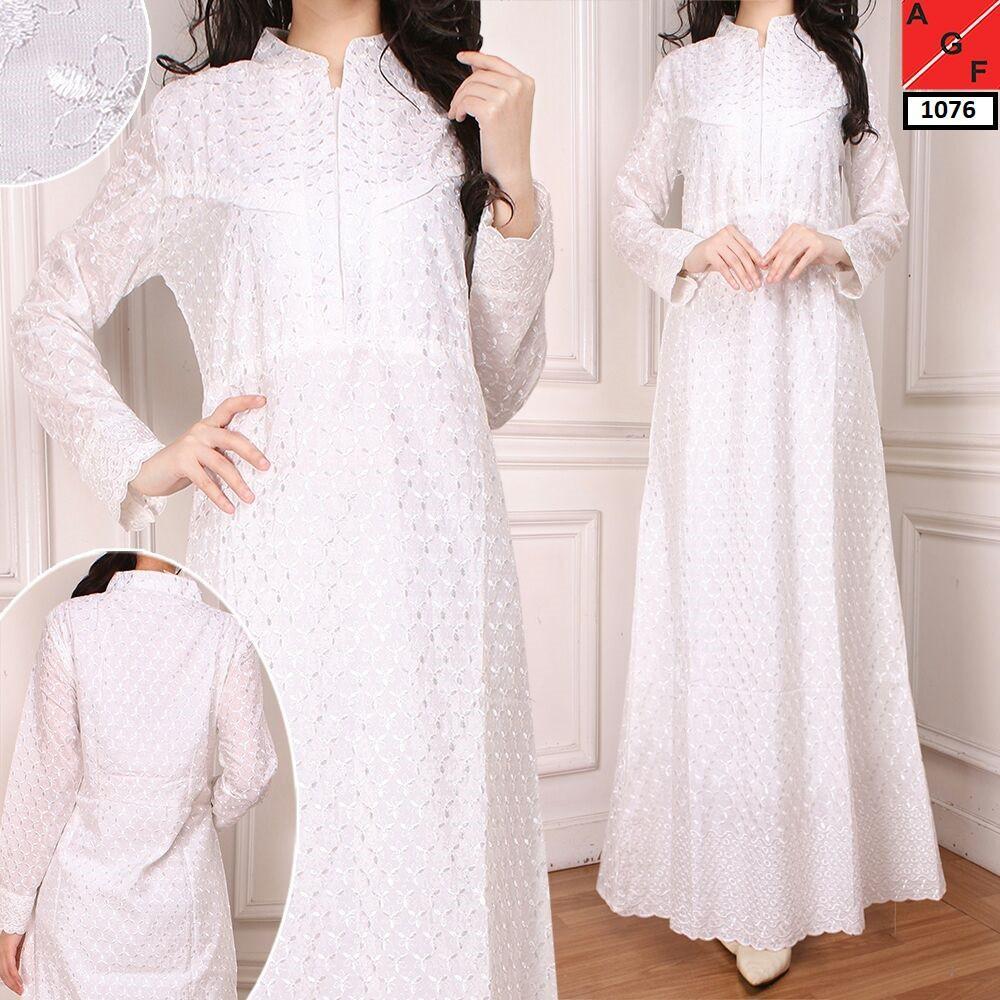 Baju Gamis Wanita Brukat / Syari Putih Lebaran Umroh Haji / Busana Muslim Wanita #1076 STD (SIZE L)