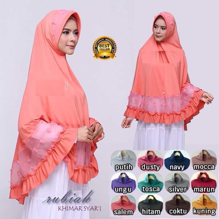Premium Jilbab Kerudung Instant Syari (Jilbab Syar'i) Hijab Instan Khimar Rubiah Syar'i Toko Berkah Online
