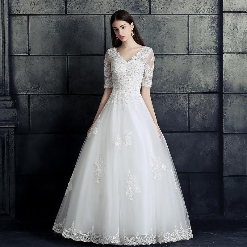Lengan Sedang Eropa dan Amerika Gaun Pengantin Gaun Baru (Putih Qi Model Untuk Mengirim Pernikahan Tiga Set + Asesoris Kalung)