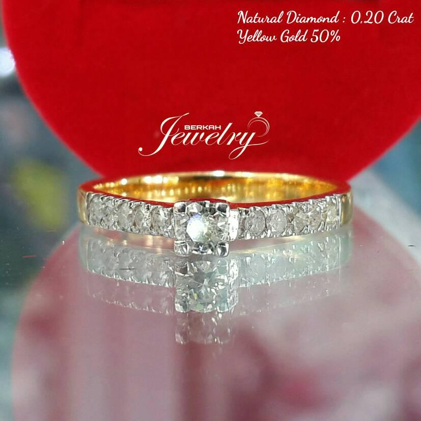 NATURAL DIAMOND 0,20 Ct | Cincin Berlian Ring Emas Kuning 50 %