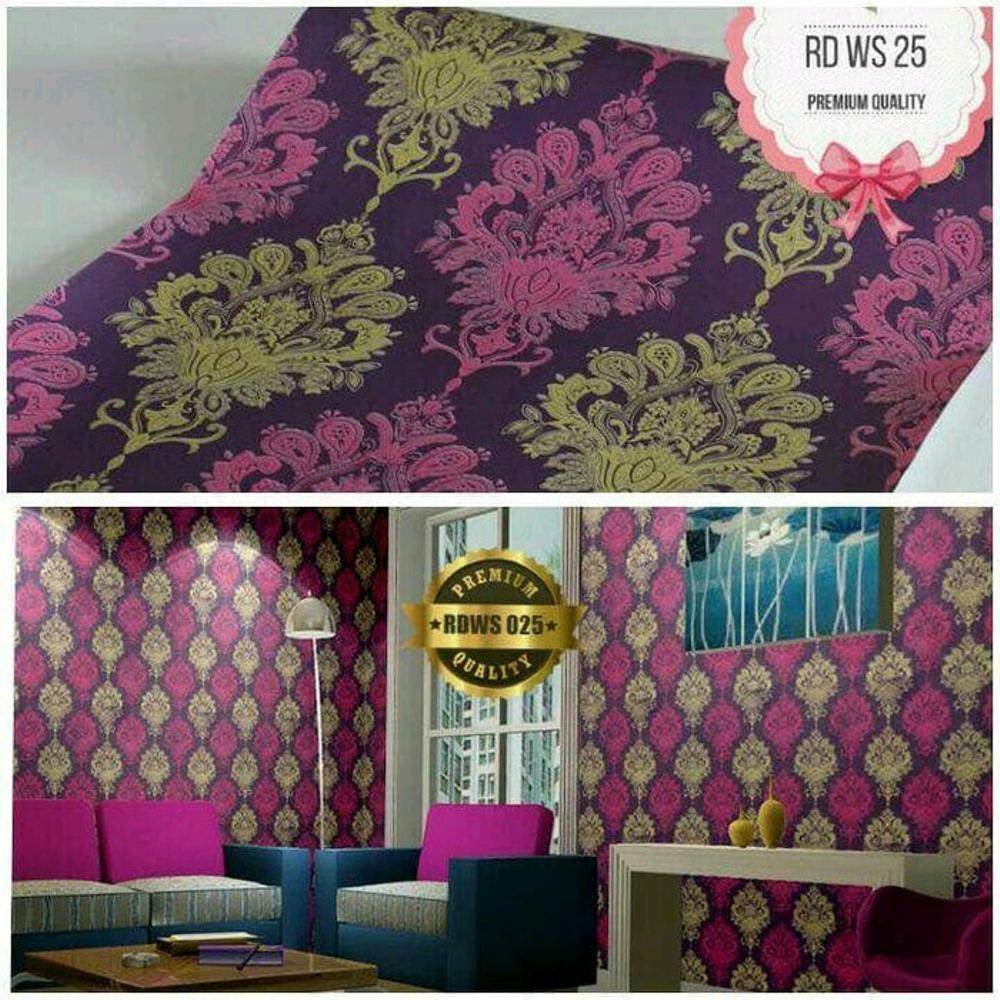 Wallpaper Sticker Dinding Batik Merah Gold 10m x 45cm