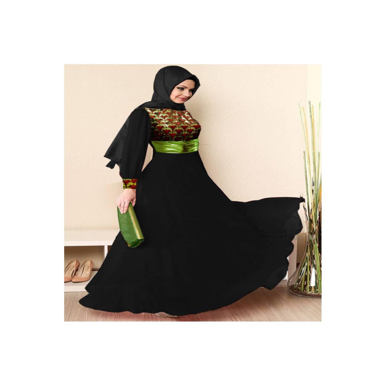 Gamis Muslim Import Korea Black Big Size XL-6XL M0070 Murah