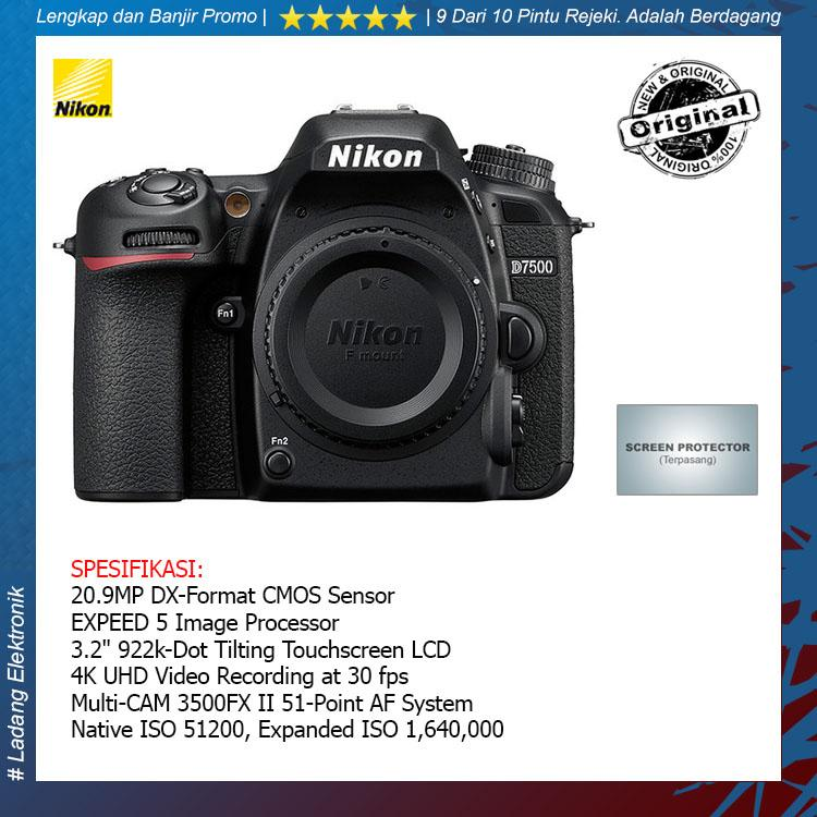 Nikon D7500 Body Only Kamera DSLR (Free Screenguard Terpasang) / Garansi Distributor 1 Tahun - Original