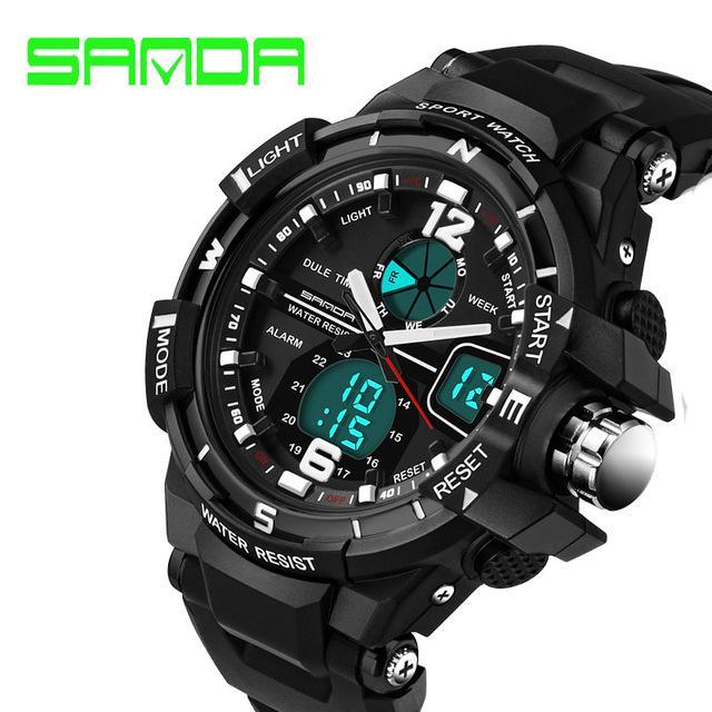 fc7ed4690d7 SANDA Merek Mens Olahraga Digital Jam Tangan Pria Clock LED Tahan Air Dual  Layar Militer Watches-Intl