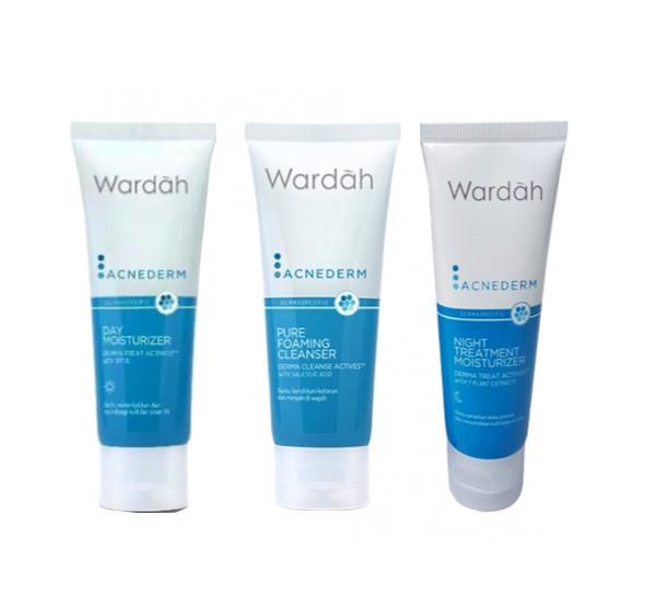 Paket Wardah AcneDerm Day Moisturizer + Pure Foaming Cleanser + Night Treatment Moisturizer - 3 pcs