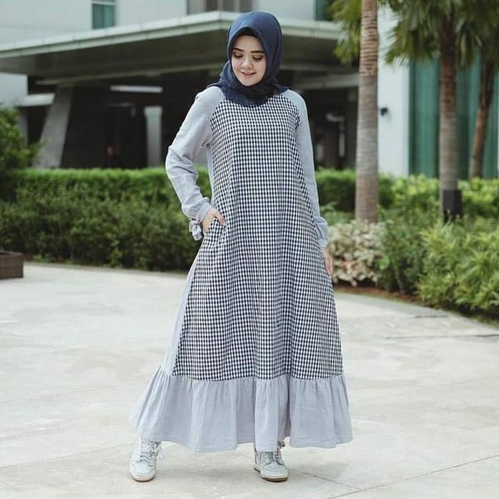 Raglan dress, baju muslimah, dress, gamis katun - Perak, L