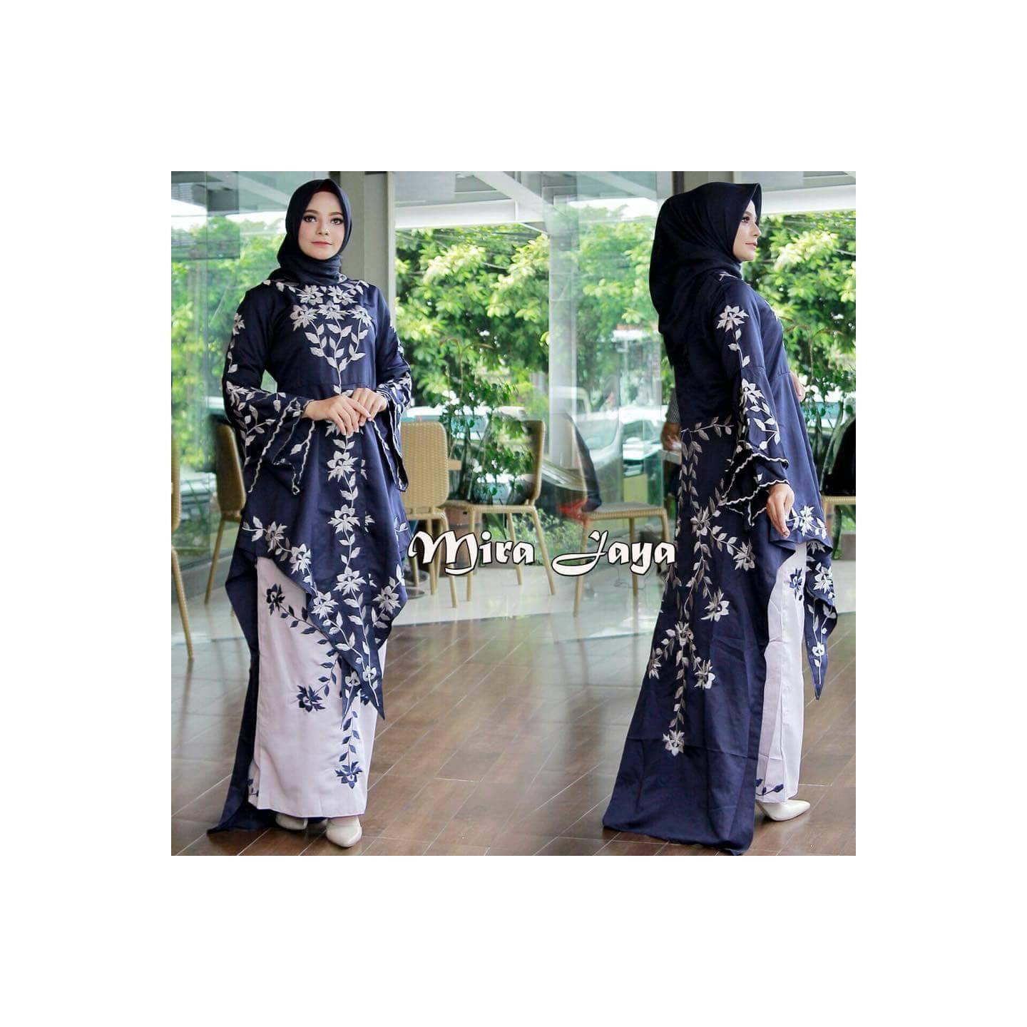 SET. ABAYA ROK MIRA JAYA BALOTELLY NAVY - Navy, XXL