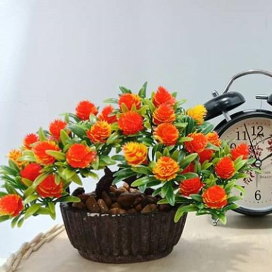 Sangadam Bunga Bonsai Plastik Dengan Vas Palsu Hias Artifisial